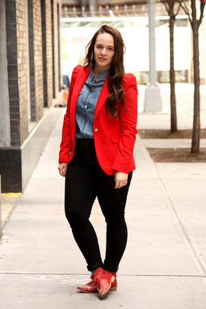 red Zara blazer - ruby red studded Zara boots - black skinny Zara jeans