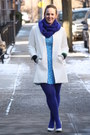 Sky-blue-printed-asos-dress-white-zara-coat-blue-wool-blend-jcrew-scarf