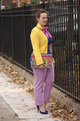 Yellow-zara-jacket-amethyst-hand-painted-diy-scarf-chartreuse-beaded-bag
