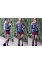 charcoal gray pocket DIY jumper - crimson velvet H&M boots