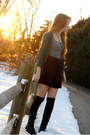 Teal-h-m-cardigan-black-over-knee-urban-outfitters-socks-black-skater-skirt