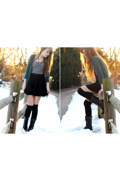 teal H&M cardigan - black over-knee Urban Outfitters socks - black skater skirt