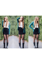 white crochet delias top - black fitted H&M skirt - teal H&M cardigan