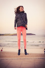 Coral-neon-pink-ag-jeans-dark-gray-chunky-zara-jumper