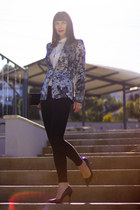 dark gray floral print Zara jacket - white silk Zara shirt