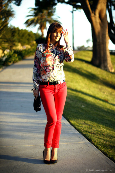 red silk Zara blouse - red skinny jeans Witchery jeans