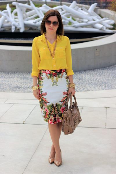 JCrew blouse - balenciaga bag - Topshop skirt - Nine West pumps