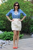 rachel rachel roy heels - BCBG necklace - H&M Trend skirt - Old Navy blouse