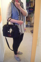black Tom Tailor leggings - blue Zara vest - black George Gina&Lucy purse