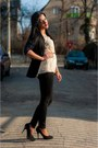 Navy-stradivarius-cardigan-black-stradivarius-pants-black-zara-heels