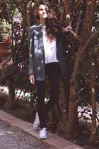 silver Zara blazer - black H&M jeans - white Atmosphere sneakers