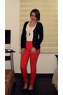 Black-forever-21-sweater-hot-pink-high-waisted-bershka-pants-white-zara-top