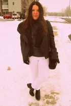 black Target boots - white Forever 21 jeans - black Target jacket - Forever21 sw