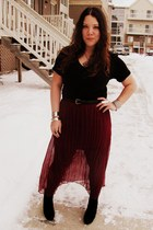 black Forever 21 shirt - crimson sheer Goodwill skirt - suede Vanity wedges - si