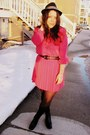 Black-goodwill-boots-hot-pink-goodwill-dress-black-hat