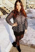 blue polks dot Goodwill shirt - black Forever 21 skirt - black Vanity wedges
