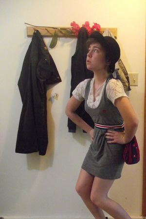 necessary clothing dress - white vintage top - black vintage hat - brown thrifte