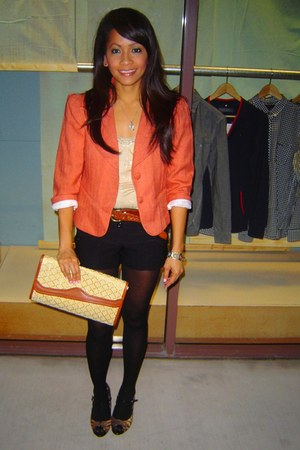 carrot orange thrifted blazer - light orange clutch thrifted purse
