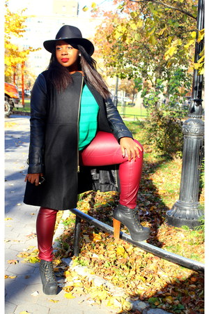 Bebe coat - Jeffrey Campbell boots - green mesh knit Old Navy sweater