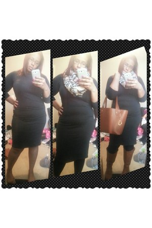 black unknown dress - salmon Forever 21 scarf - bronze Ralph Lauren bag
