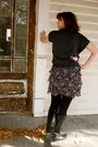 Black-vintage-boots-ruby-red-target-dress-dark-gray-vearbelle-sweater-blac