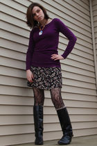 pink Forever 21 sweater - black Gap skirt - black Hot Topic tights - black vinta
