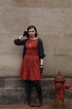 gray Forever 21 cardigan - red vintage dress - black Target tights - brown ferra