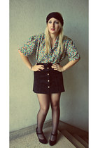 black H&M heels - vintage shirt - black vintage skirt - accessories