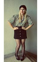 black H&M heels - vintage shirt - black vintage skirt - accessories