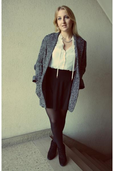 H&M skirt - Mango boots - Mango coat - H&M top - H&M necklace