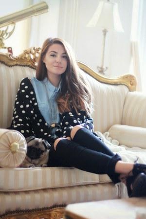 black pom pom H&M cardigan - black chunky H&M boots - black ripped H&M jeans