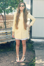 light yellow chessboard Zara jacket - brown double layered romwe sunglasses
