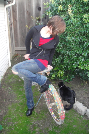black Silence  Noise jacket - red sweater - blue True Religion jeans - black sam