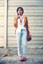 carrot orange necklace - light blue jeans - mustard blazer - ivory shirt
