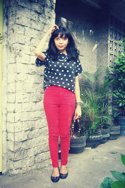 black top - ruby red pants - black flats