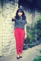 black top - ruby red pants - black flats