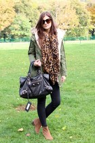 olive green parka asos jacket - camel Pennyblack boots