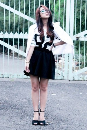 white Zipper And Lace coat - Zara heels - firmoo glasses - Tipsy Bangkok top