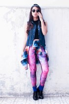 Forever 21 top - Stradivarius hat - galaxy leggings romwe leggings