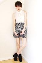 cat eye asos sunglasses - zig zag printed H&M skirt - dip hem new look blouse