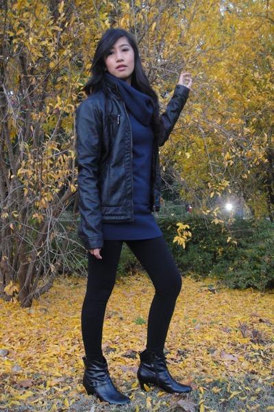 black jacket - navy dress - black leggings