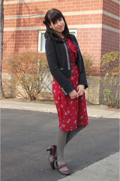 teal tweed thrifted blazer - maroon vintage dress