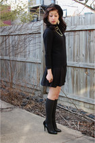 black American Eagle dress - black vintage hat - black calvin klein sweater