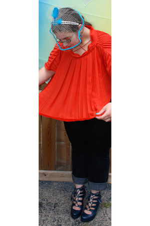 orange nicole farhi blouse - blue DELAVALLE hat