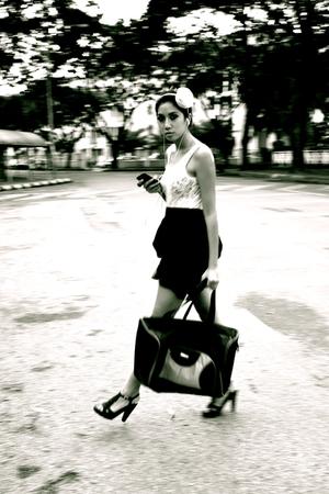 beige vintage top - black boutique skirt - purple Steve Madden shoes