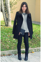 black Primark boots - black Promod coat - black Lefties bag - black H&M pants