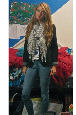 black Forever 21 blazer - light blue jeans - black striped shirt - silver scarf