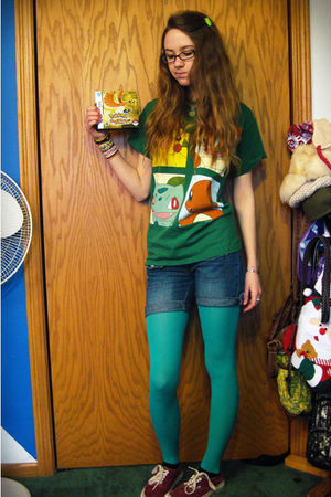 green tights - red Vans shoes - blue shorts - green Hot Topic t-shirt - gold Pok