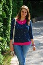 Blue-orsay-blouse-hot-pink-h-m-t-shirt