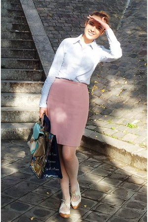 light pink vintage skirt - ivory shoes - light blue Tommy Hilfiger shirt